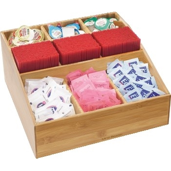 """Mind Reader Square, Bamboo Break Room Caddy, 9 Compartments, 12""""w x 12""""d x 5 1/2""""h"""