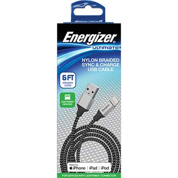 Nylon Braided Metal Tip Lightning Sync & Charge Cable, 6 ft.