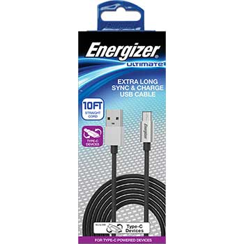 Energizer® Metal Tip Sync & Charge Type-C Cable, 10 ft.