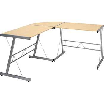 """Essentials Collection Metal Frame L-Shaped Desk, Corner Computer Desk, 60"""", Maple"""