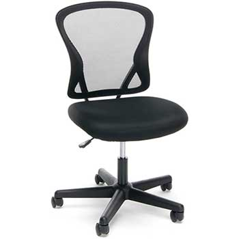 Essentials by OFM ESS-3010 Swivel Mesh Back Armless Task Chair, Mid-Back, Black
