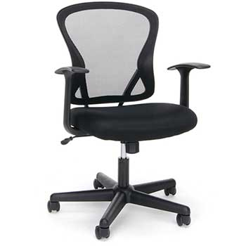 Essentials by OFM ESS-3011 Swivel Mesh Back Task Chair with Arms, Mid-Back, Black