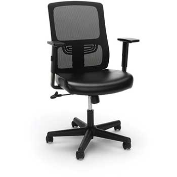 Essentials by OFM ESS-3048 Ergonomic Mesh Back Chair with Bonded Leather Seat, Black
