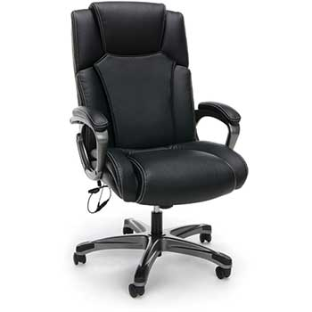 OFM™ Essentials Collection Heated Shiatsu Massage Bonded Leather Executive Chair, Black