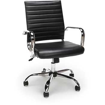 OFM™ Essentials Collection Soft Ribbed Bonded Leather Executive Conference Chair, Black