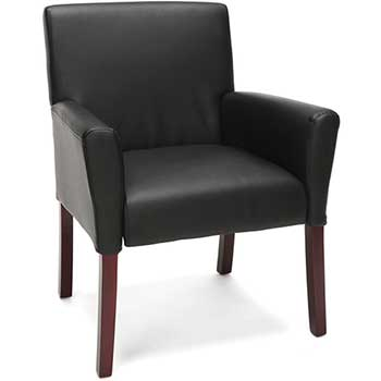 Essentials Fixed Arm Guest Chair with Wooden Legs, Black