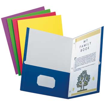 Oxford™ School Grade Twin Pocket Folders with Tang Fasteners, Assorted, 25/Box