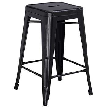 "Backless Indoor-Outdoor Counter Height Stool, Metal, Distressed Black, 24"" H"