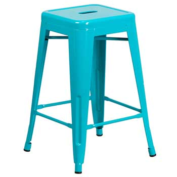 """Flash Furniture Backless Crystal Indoor-Outdoor Counter Height Stool, Teal, 24"""" H"""