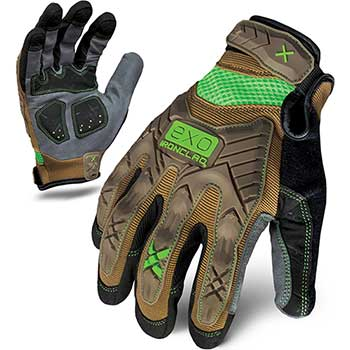 Work Gloves, Impact Protection, Brown, Large