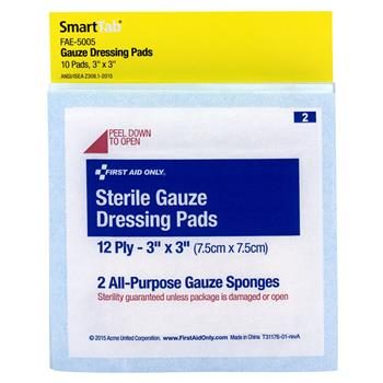 """First Aid Only™ Gauze Pads, 3"""" x 3"""", 5/Pack"""
