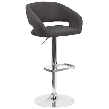Flash Furniture Contemporary Charcoal Fabric Adjustable Height Barstool With Rounded Mid-Back & Chrome Base