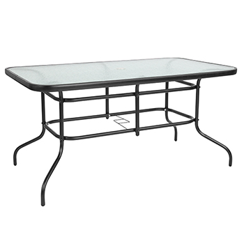"Flash Furniture Table, Tempered Glass/Metal, 31.5"" x 55"""