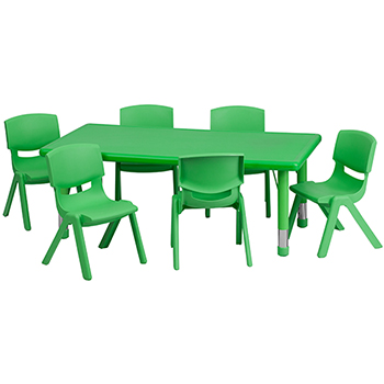 Rectangular Height Adjustable Activity Table Set with 6 Chairs, Plastic, Green, 24'' W x 48'' L