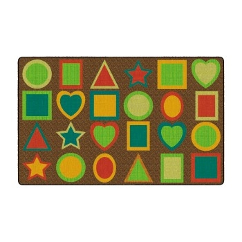 """Printed All Kinds of Shapes Rug, Muted, Rectangle, Seats 24 Children, 7' 6"""" x 12'"""