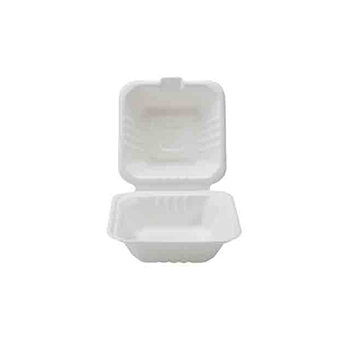 "Fineline® 6"" X 6"" X 3.1"" Hinged Container, Bagasse, 500/CS"