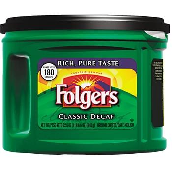 Folgers® Classic Roast Decaffeinated Ground Coffee Canister, Medium Roast, 22.6 oz.