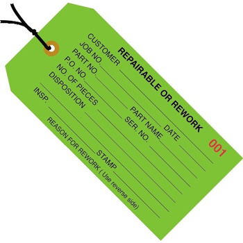 "Inspection Tags, Pre-Strung, Repairable or Rework, 4 3/4"" x 2 3/8"", Green, 1000/CS"