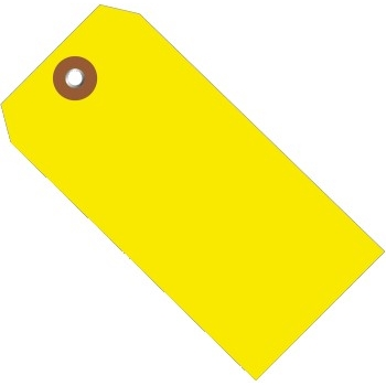 "Plastic Shipping Tags, 4 3/4"" x 2 3/8"", Yellow, 100/CS"