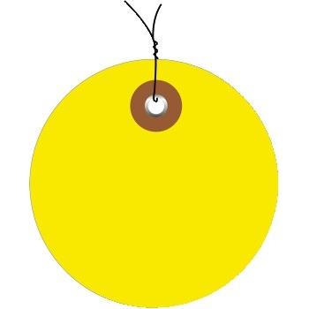 "W.B. Mason Co. Plastic Circle Tags, Pre-Wired, 2"", Yellow, 100/CS"