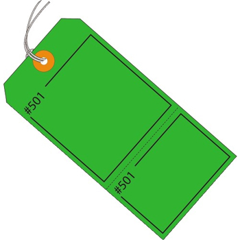 "W.B. Mason Co. Claim Tags, Consecutively Numbered, Pre-Strung, 4 3/4"" x 2 3/8"", Green, 1000/CS"