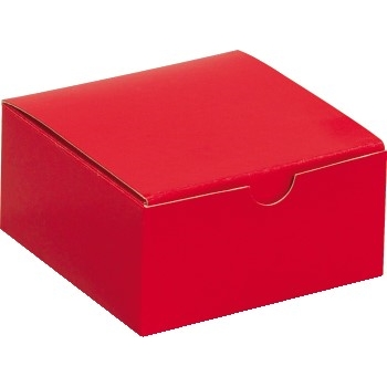 "W.B. Mason Co. Gift boxes, 4"" x 4"" x 2"", Holiday Red, 100/CS"
