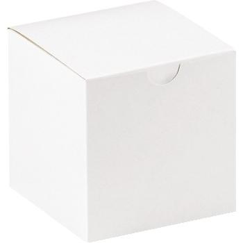 "W.B. Mason Co. Gift boxes, 4"" x 4"" x 4"", White, 100/CS"