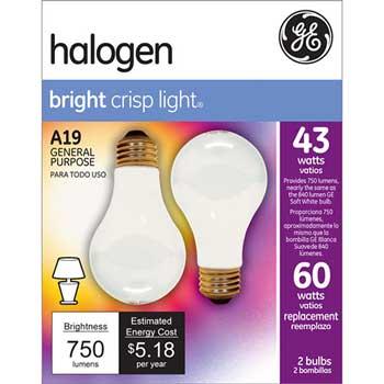 Halogen Bulb, A19, 43 W, 620 lm, Soft White, 2/PK