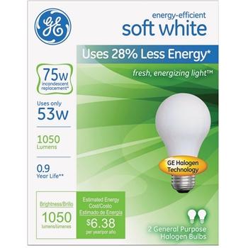 Halogen A-Line Bulb, A19, 53 Watt, 890 lm, Soft White, 2/PK