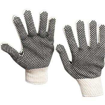 W.B. Mason Co. PVC Dot Knit Gloves, Small, White/Black, 24 PR/CS
