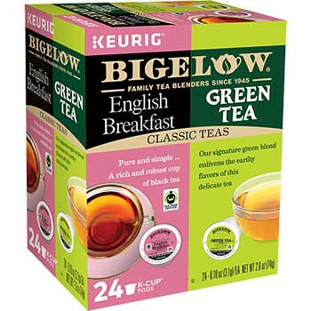 Bigelow® K-Cup® Pods Variety Pack, English Breakfast and Green Tea, 24/BX