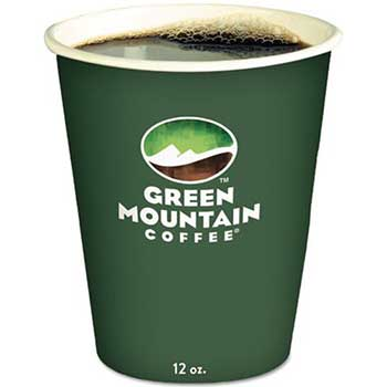 Eco-Friendly Paper Hot Cups, 12oz, Green Mountain Design, Multi, 1000/Carton