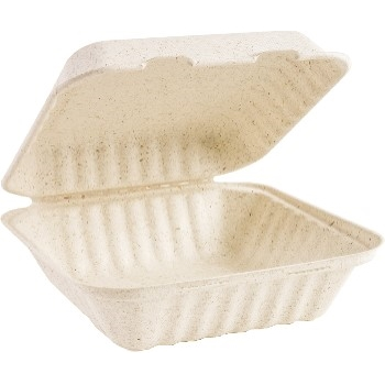 Green Wave Wheat Straw Hinged Lid Carryout Container, 1 Compartment, 300/CT