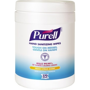 "Hand Sanitizing Wipes, 6 x 6 3/4"", White, 270 Wipes/Canister"
