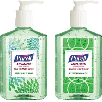 Advanced Hand Sanitizer Soothing Gel Design Series, 8 fl oz Pump Bottle, 4/PK