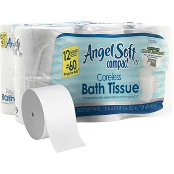 Angel Soft® Compact® Premium Embossed Toilet Paper, Coreless, 2-Ply, 750 Sheets, 12 Rolls/CT