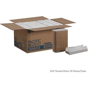 Pacific Blue Basic™ C-Fold Paper Towels by GP Pro, White, 240/PK, 10 PK/CT