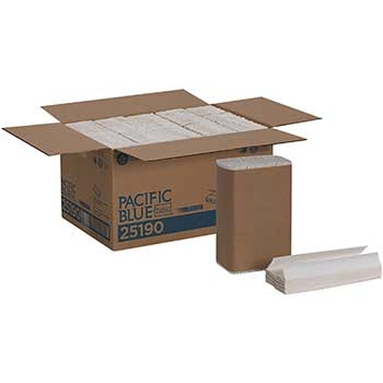Pacific Blue Basic™ C-Fold Recycled Paper Towel by GP Pro, White, 240/PK, 10 PK/CT