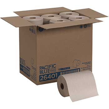 Pacific Blue Basic™ Recycled Paper Towel Roll by GP Pro, Brown, 350 Feet, 12 RL/CT