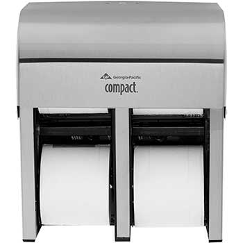 """Compact® 4-Roll Quad High-Capacity Toilet Paper Dispenser, Coreless, 11.75""""W x 6.90""""D x 13.25""""H, Stainless"""