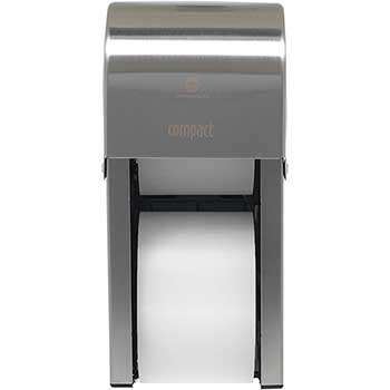 "Compact® 2-Roll Vertical High-Capacity Toilet Paper Dispenser by GP Pro, Coreless, 6.000"" W x 6.500"" D x 13.500"" H, Stainless"