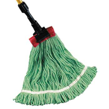 Golden Star® Eco-Cotton Looped-End Wet Mops, Medium, Green, 12/CT