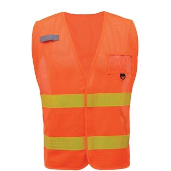 GSS Safety Non-ANSI Multi-Usage Utility Vest, Orange Vest w/Lime Prismatic Tape, 50/CS