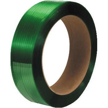 "W.B. Mason Co. Polyester Strapping, Smooth, 16"" x 3"" Core, 1/2"" x 3600', Green, 2/CS"