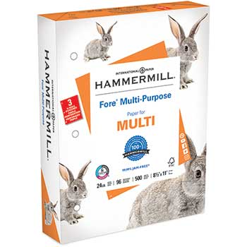 "Hammermill Fore MP Multipurpose Paper, 96 Bright, 24 lb, 8 1/2"" x 11"" 3HP, 500/RM"