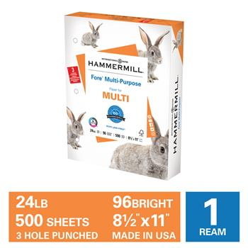 "Hammermill Fore Multipurpose 24lb Copy Paper, 8.5"" x 11 3HP, 96 Bright, 1 Ream, 500 Sheets"
