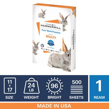 """Hammermill Fore Multipurpose 24lb Copy Paper, 11"""" x 17"""", 96 Bright, 1 Ream, 500 Sheets"""