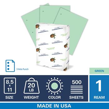 "Hammermill Colored Paper, 20lb Green Copy Paper, 3 HP, 8.5"" x 11"", 1 Ream, 500 Sheets"