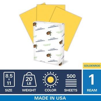 "Hammermill Colored Paper, 20lb Goldenrod Copy Paper, 8.5"" x 11"", 1 Ream, 500 Sheets"