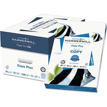 Copy Plus Copy Paper, 92 Brightness, 20lb, 11 x 17, White, 2500 Sheets/Carton